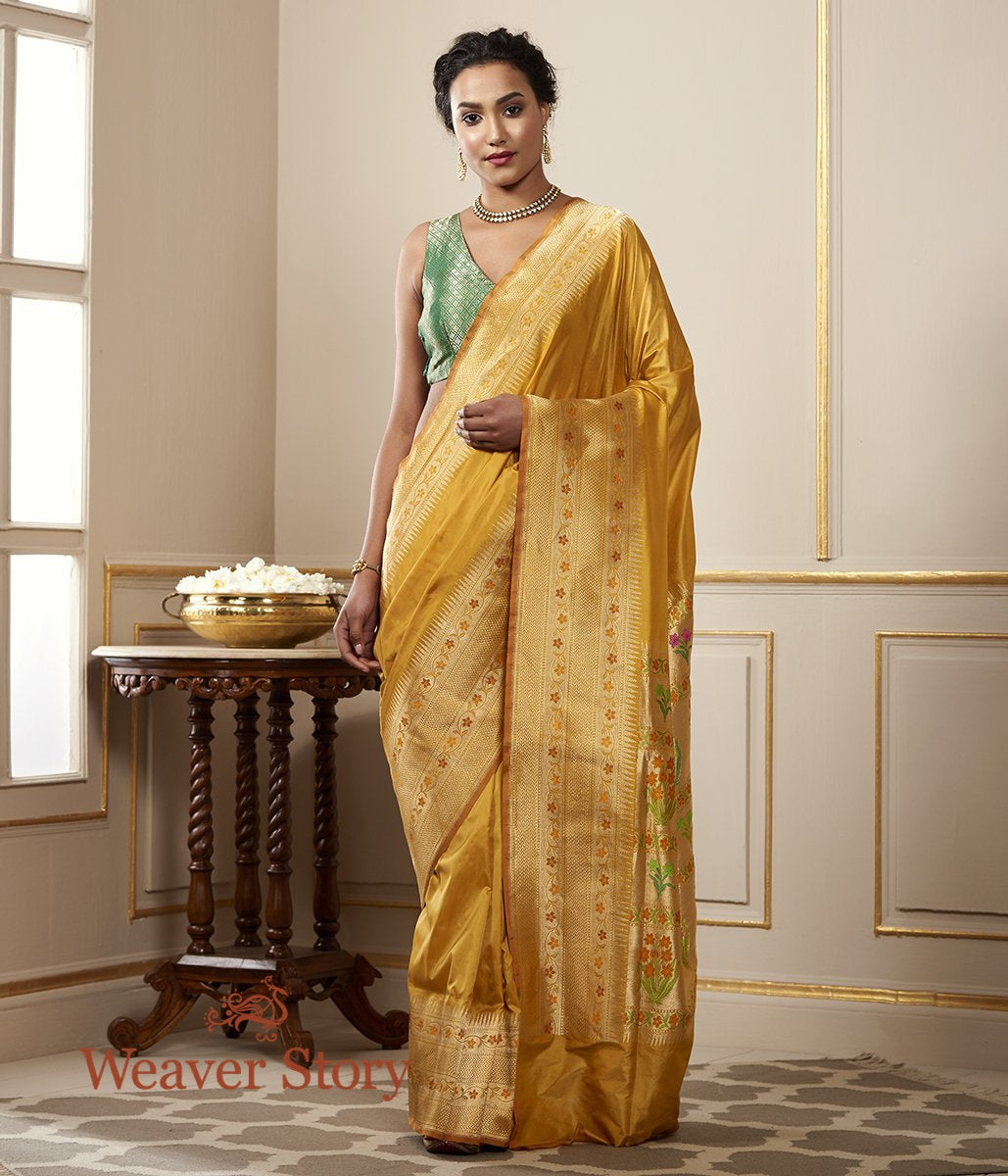 Handwoven Yellow Katan Silk Saree with Floral Meenakari Border and Pallu