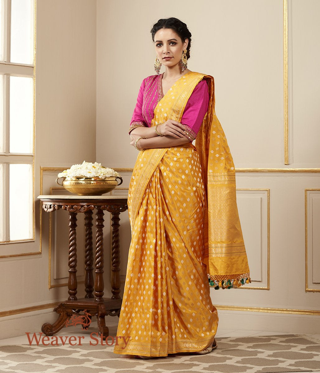 Handwoven Yellow Banarasi Saree with Kadhwa Booti Woven in Sona Rupa Zari