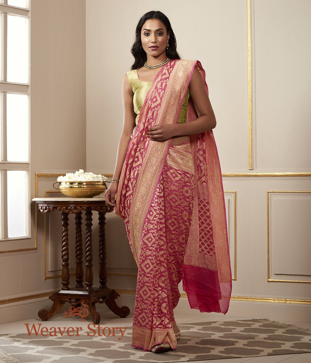 Handwoven Pink Banarasi Cutwork Jangla Saree in Pure Georgette