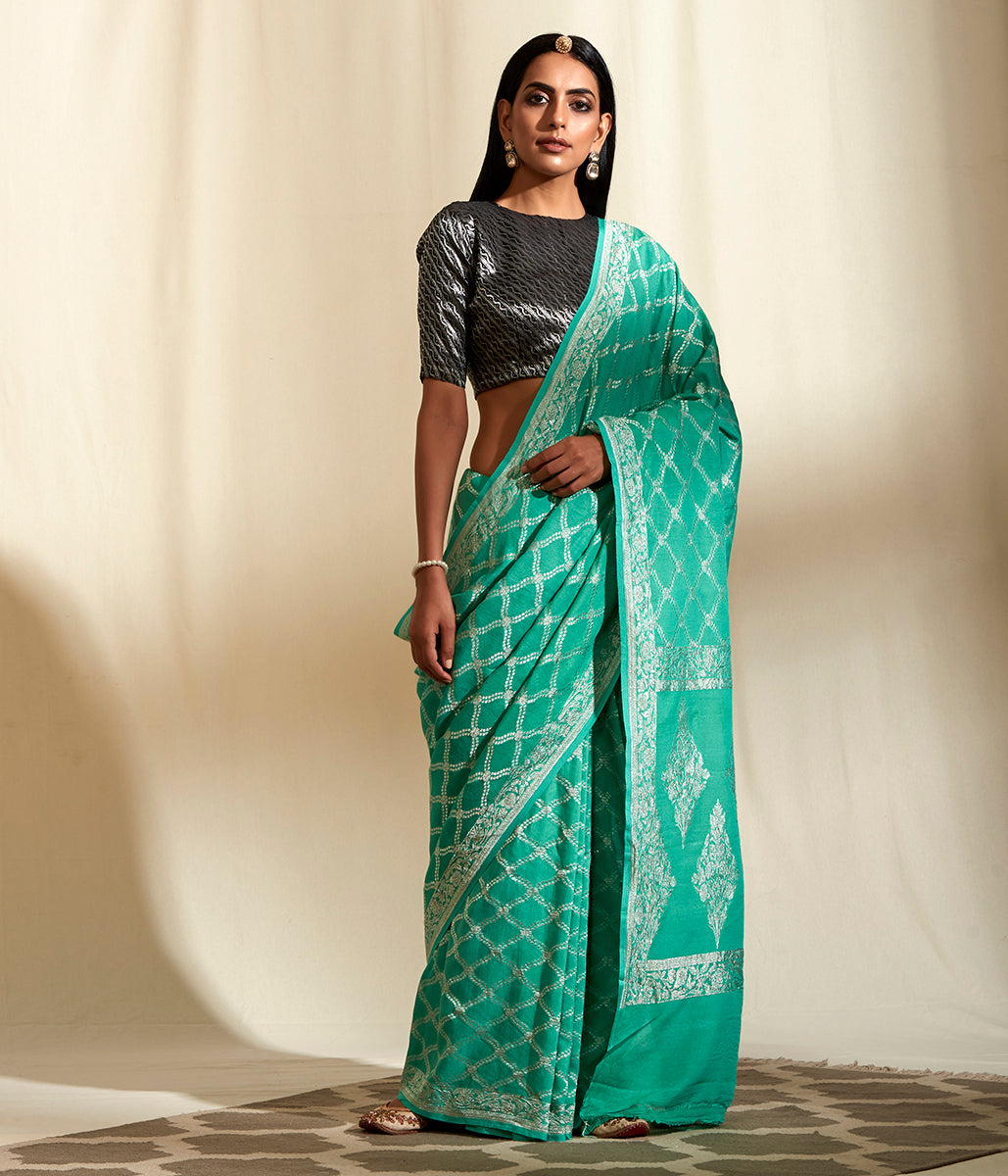 Handwoven banarasi munga silk saree with silver zari