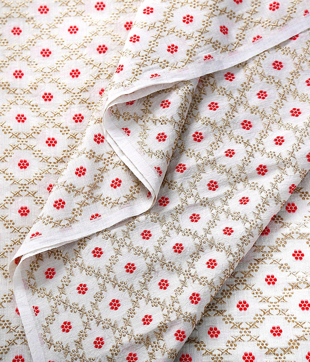 Handwoven Banarasi Munga Silk Fabric with Red Meenakari Floral Jaal