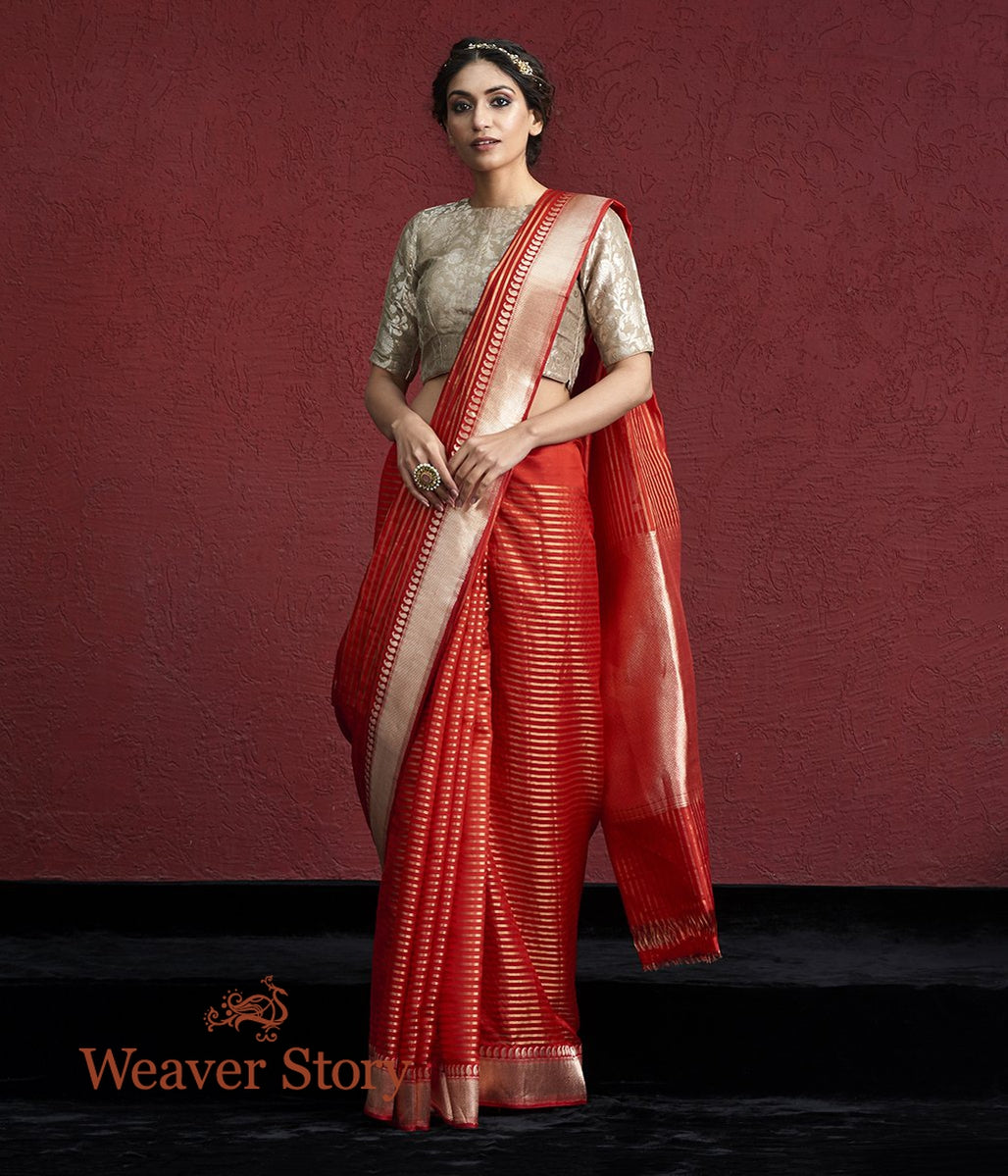 Handwoven Red Kora Silk Banarasi Saree with Ambi Border