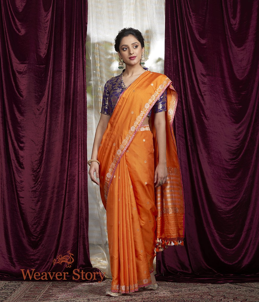 Handwoven Orange Kadwa Boota Saree with Small Border