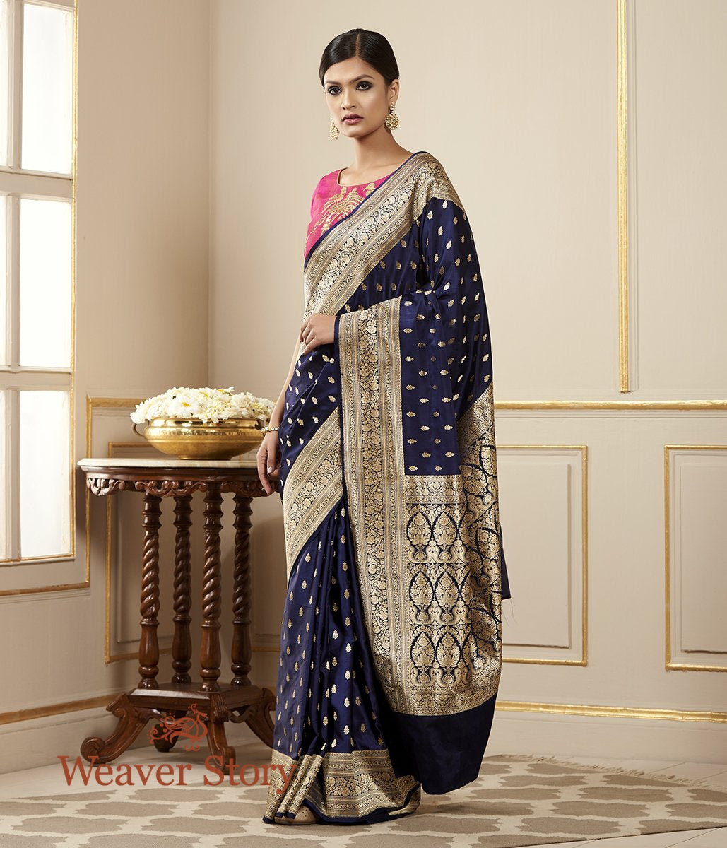 Handwoven Blue Satin Booti Saree
