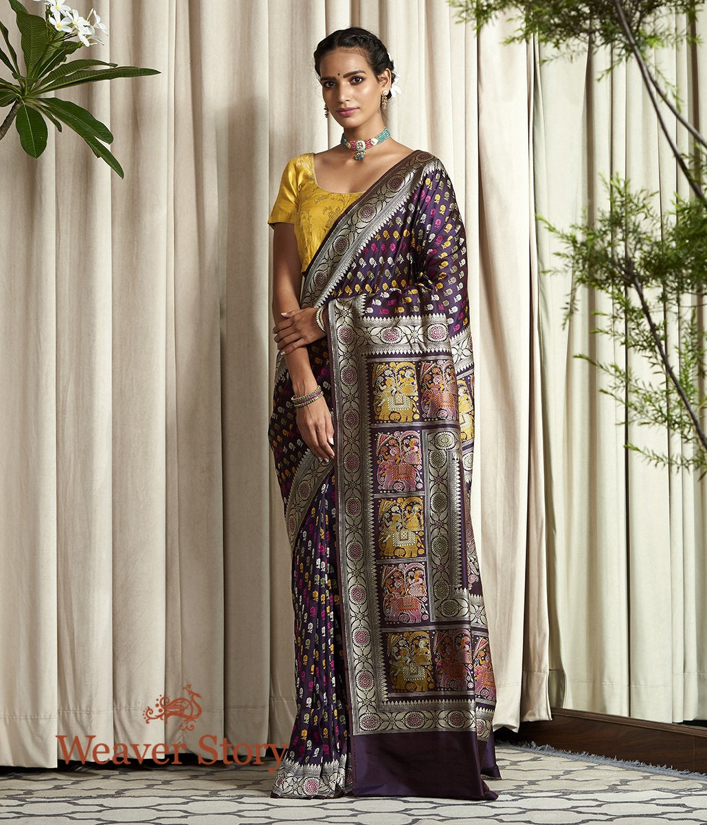 Handwoven Banarasi Baluchari Saree in Dark Purple with Elephant Pallu