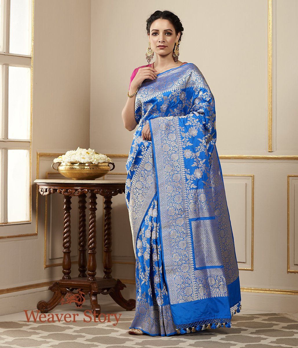 Handwoven Blue Kadhwa Jangla Saree with Sona Rupa Zari