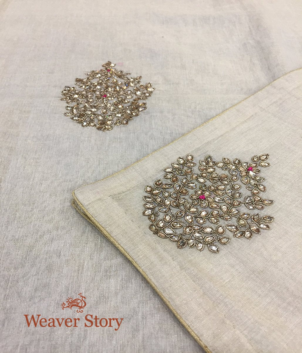 Handwoven Ivory Cotton Tissue Dupatta with Zardozi and Kundan work