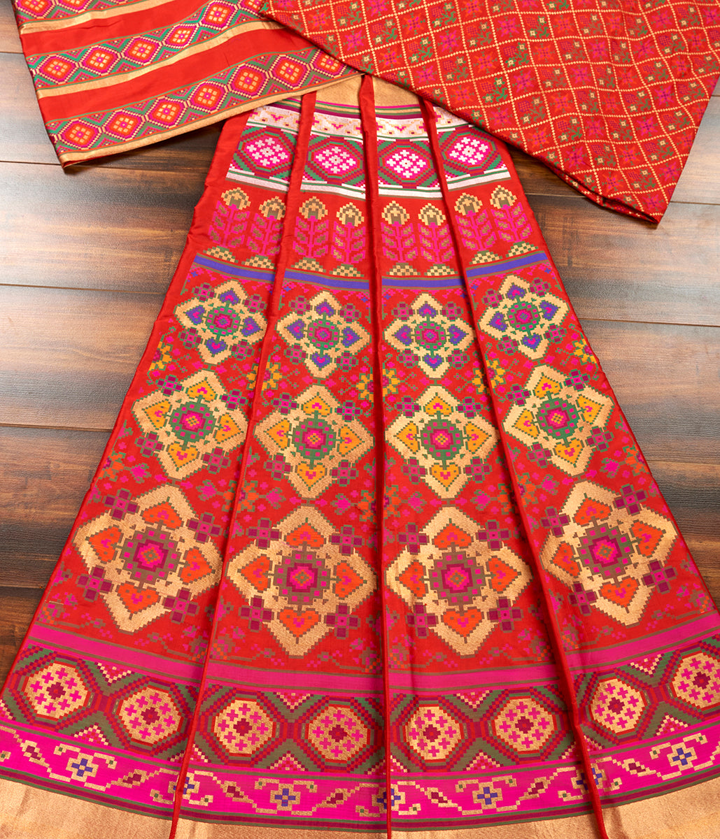Handwoven Red Patola Lehenga with Meenakari