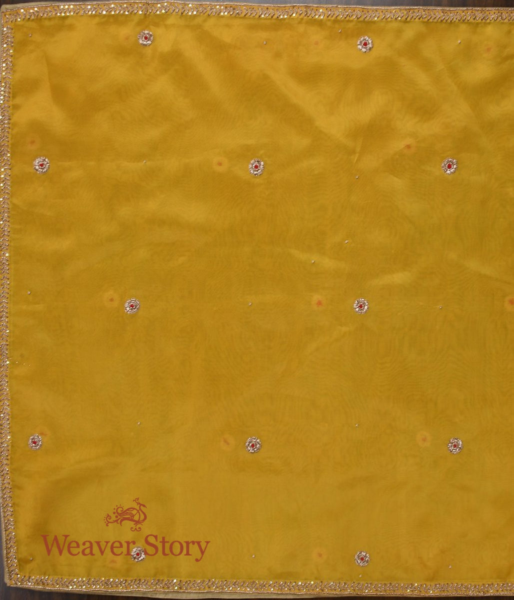 Yellow Zardozi Dupatta with Patti Bel Border