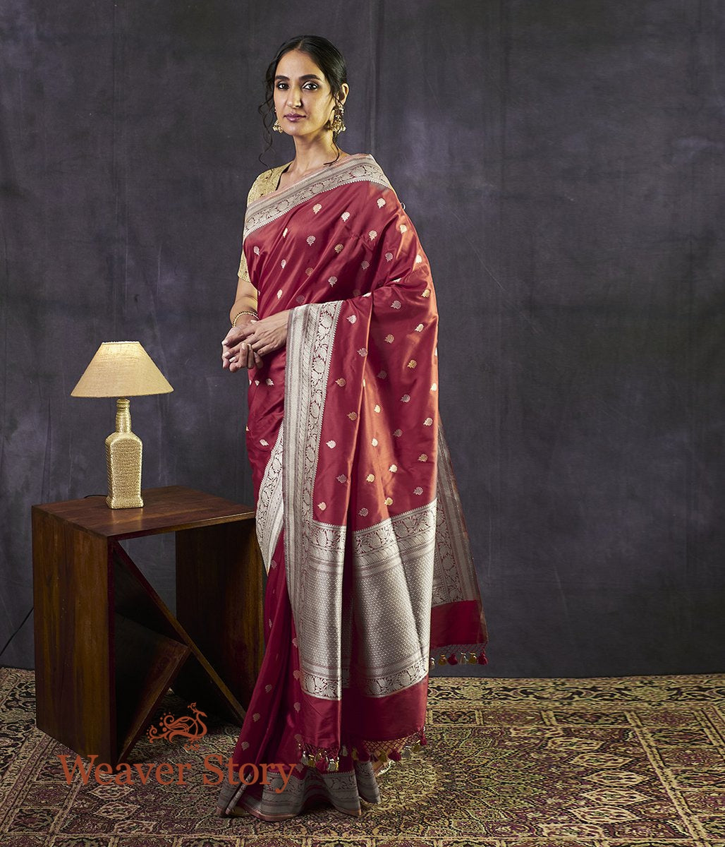 Handwoven Red Kadhwa Booti Saree