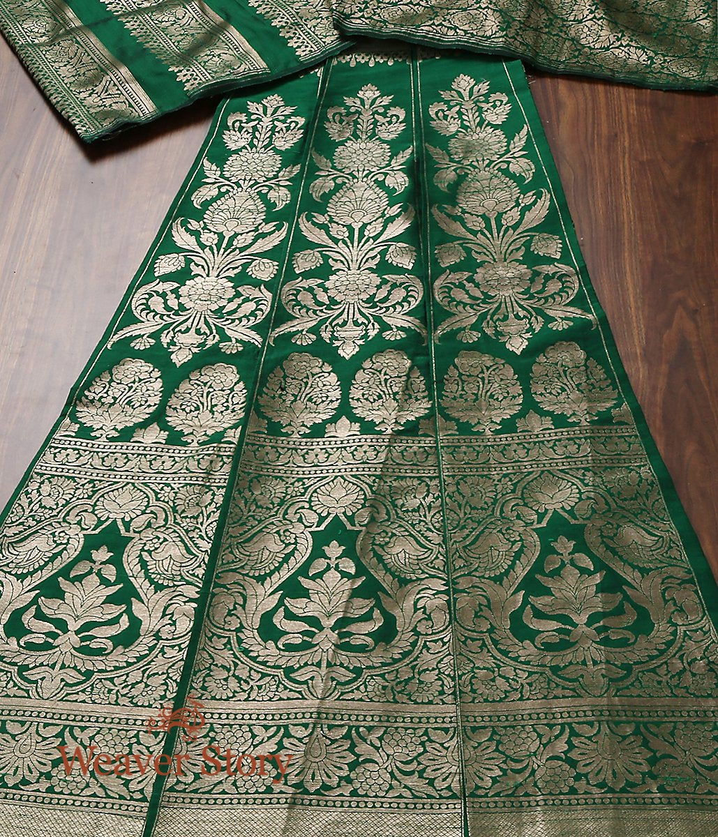 Handwoven Emerald Green Banarasi Lehenga woven in Tusser Silk