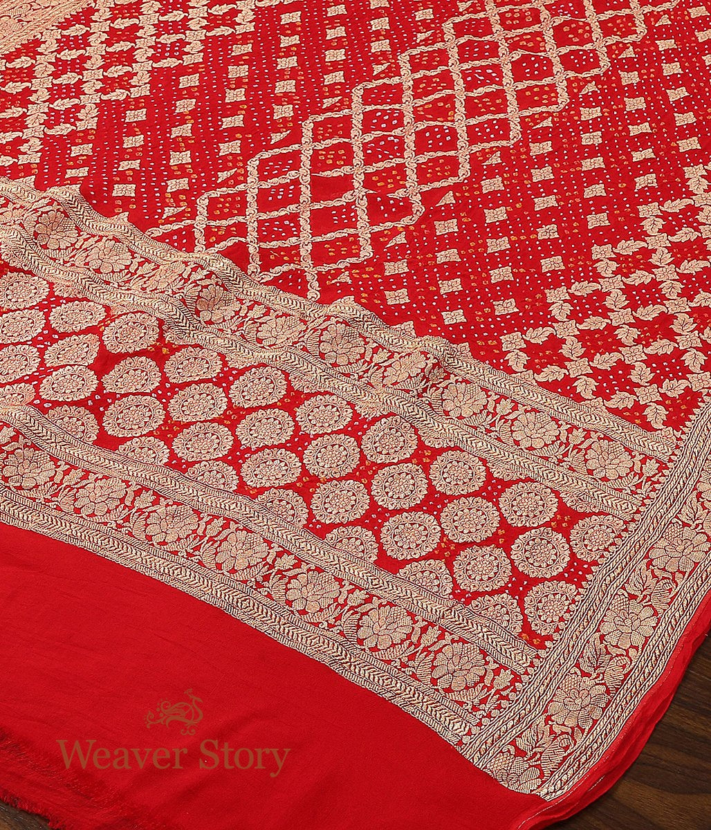 Handwoven Banarasi Bandhani Georgette Dupatta in Red