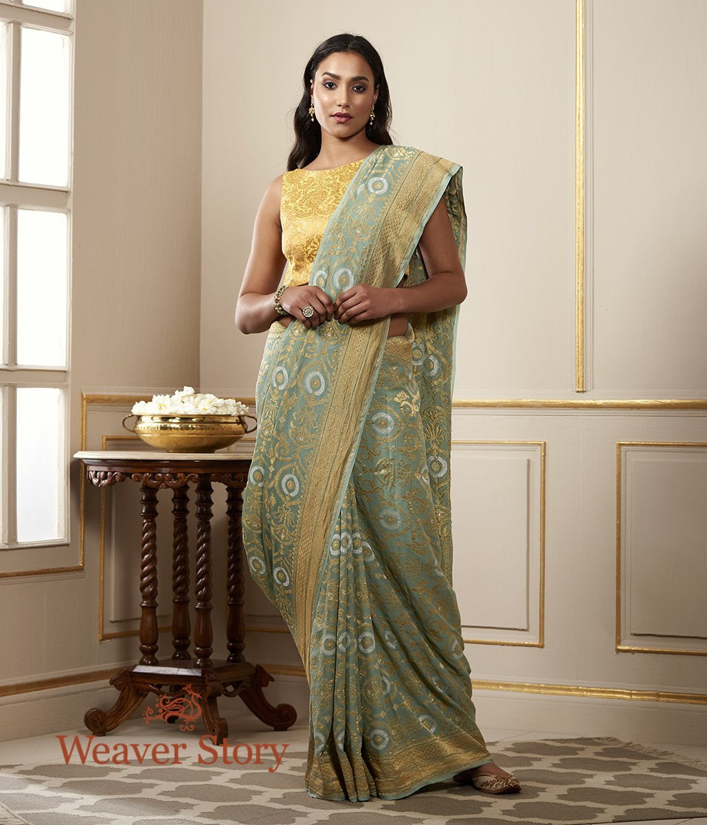 Handwoven Duck Egg Blue Georgette Patola Saree