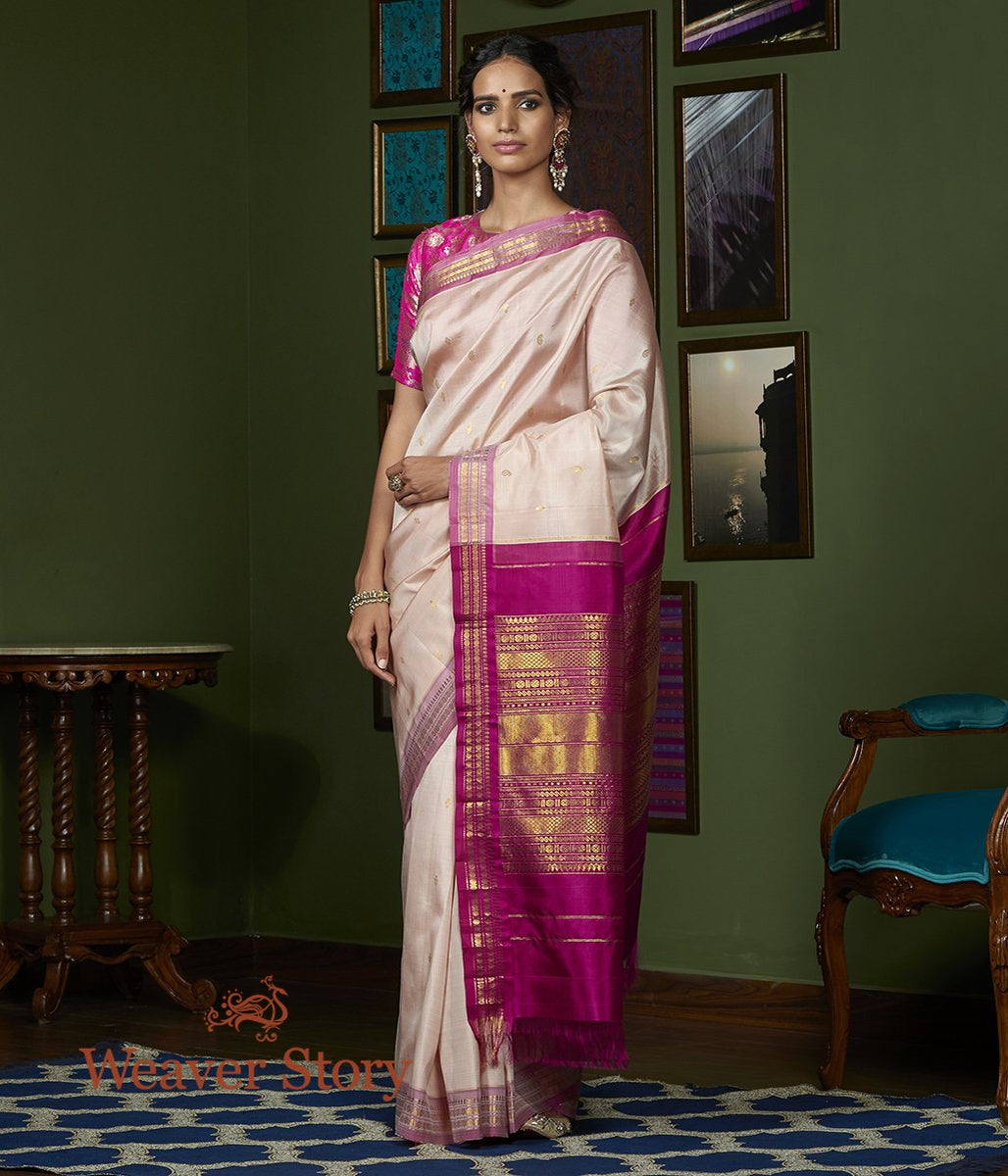 Handwoven Blush Pink Kanjivaram Silk Saree with Mauve Border