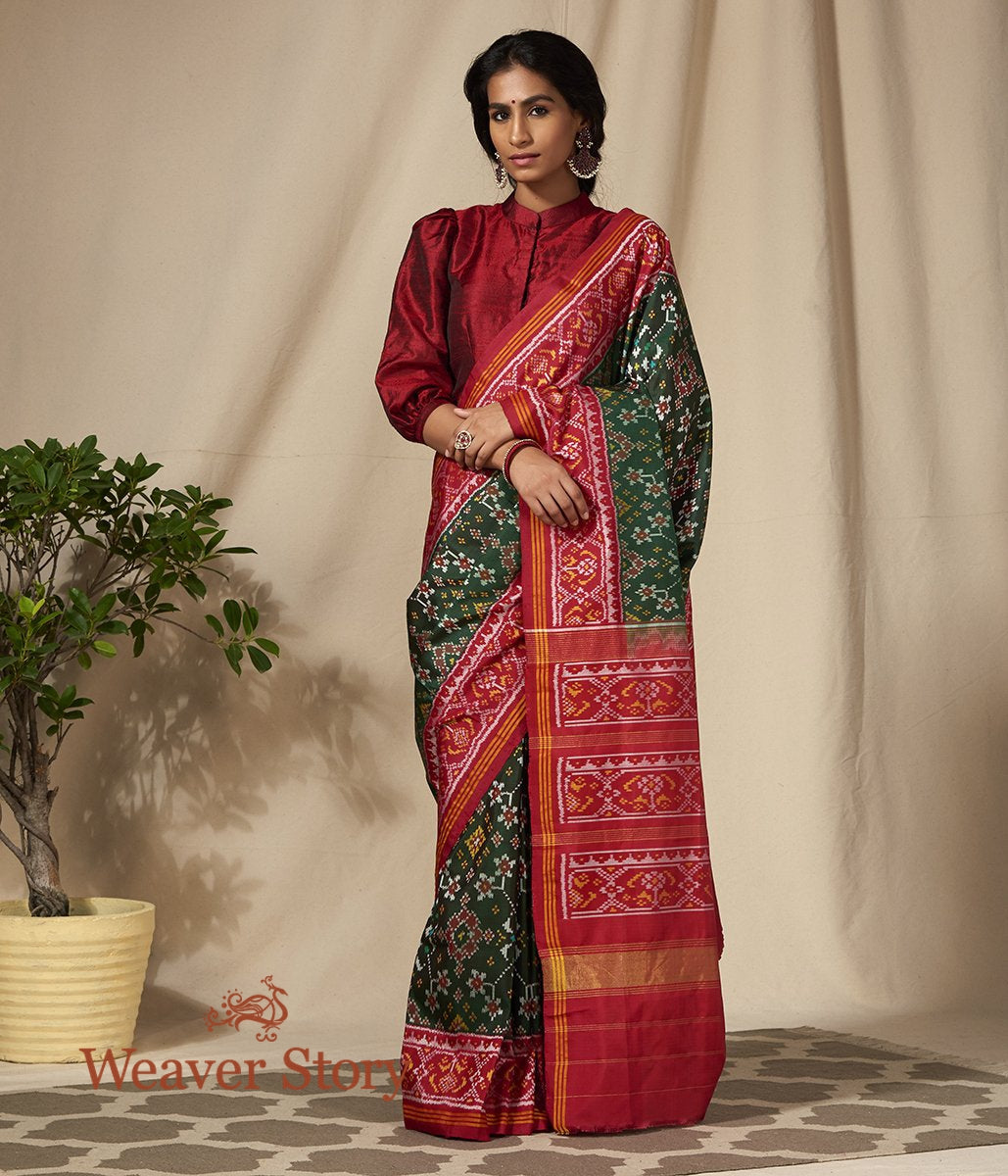 Handwoven Green Gujarat Patola Saree with Red Border