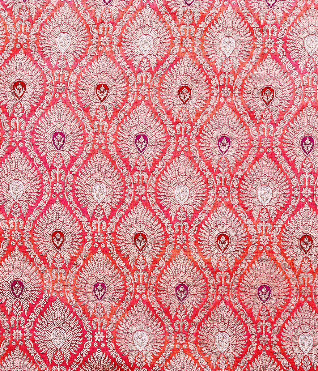 Handwoven Banarasi brocade fabric in pink and orange dual tone