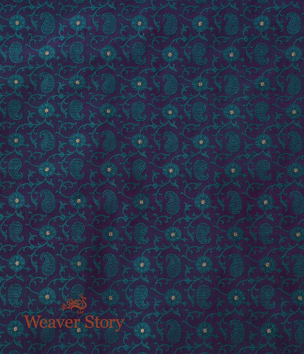 Handwoven Purple and Green Tanchoi Fabric with Paisley and Zari Booti