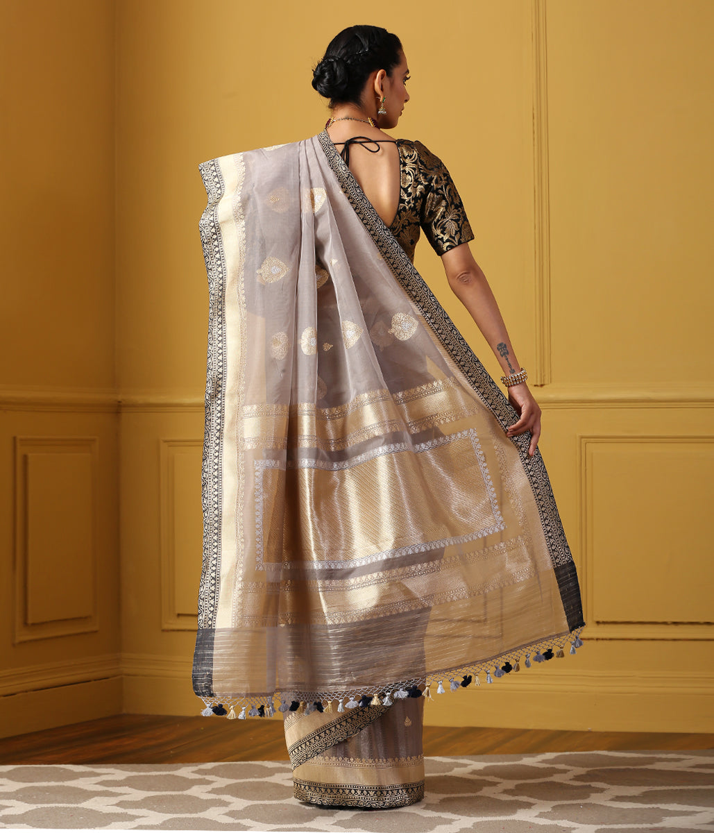 Handwoven Grey Kora Silk Banarasi Saree with Kadhwa Booti