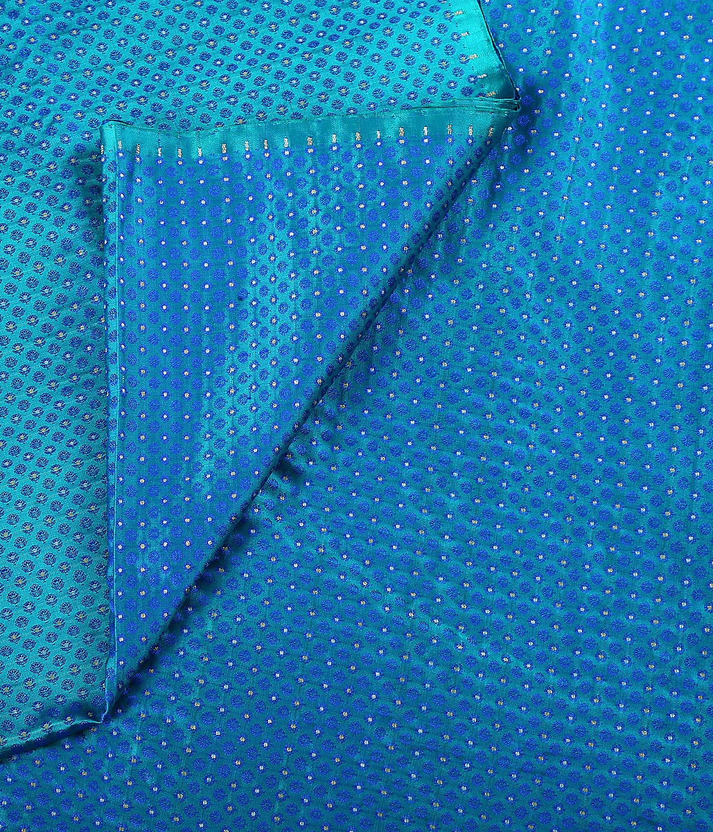 Handwoven Turquoise tanchoi fabric with zari booti