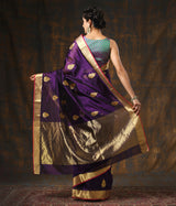 Handwoven Purple Chanderi Silk Saree with Meenakari Motifs