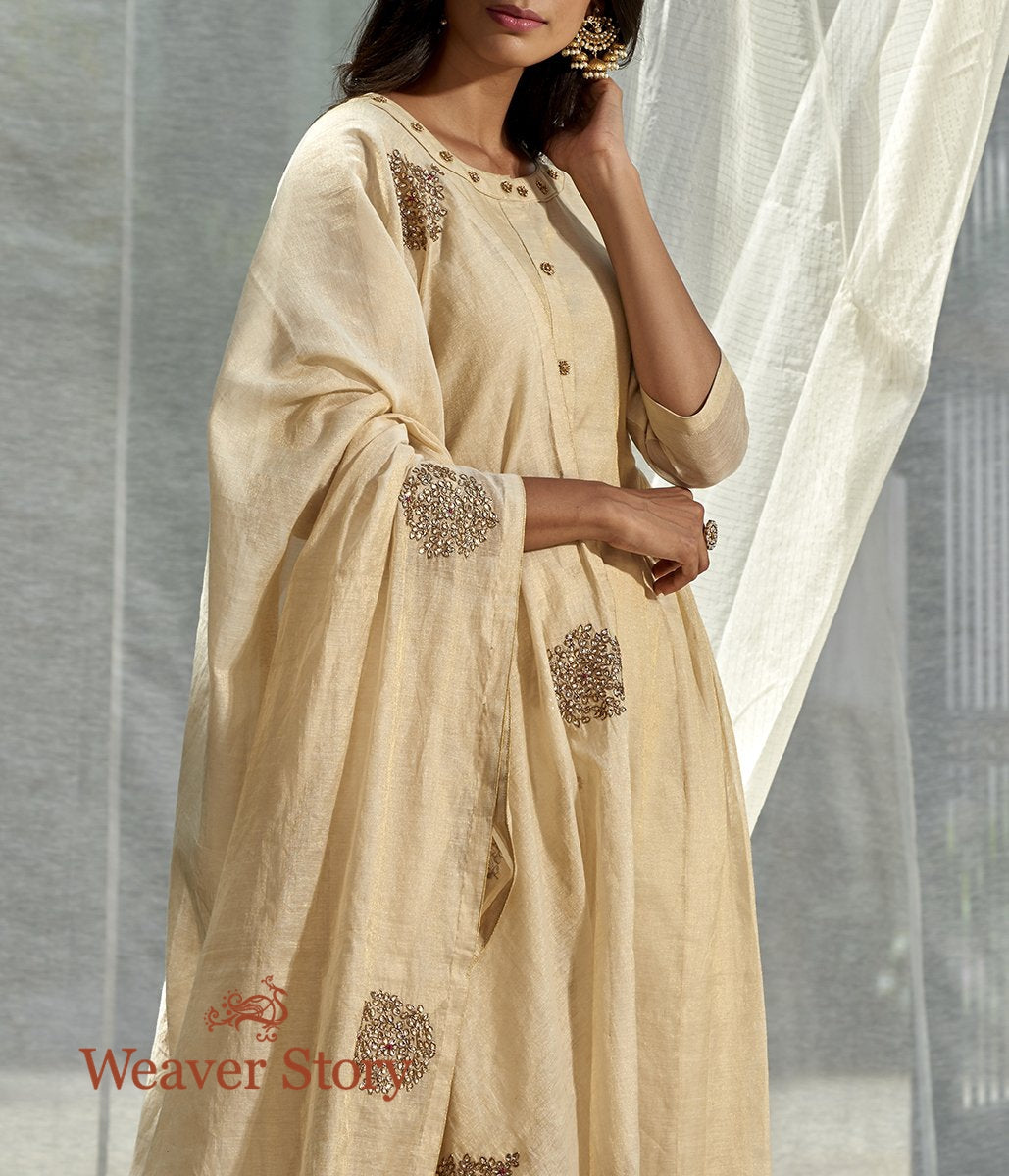 Handwoven Offwhite Chanderi Tissue Tunic with Pleated Panel