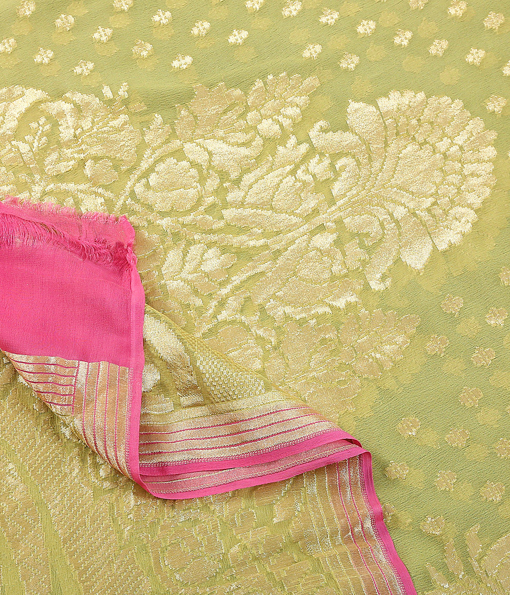 Henna green georegtte dupatta with paisley and floral motifs