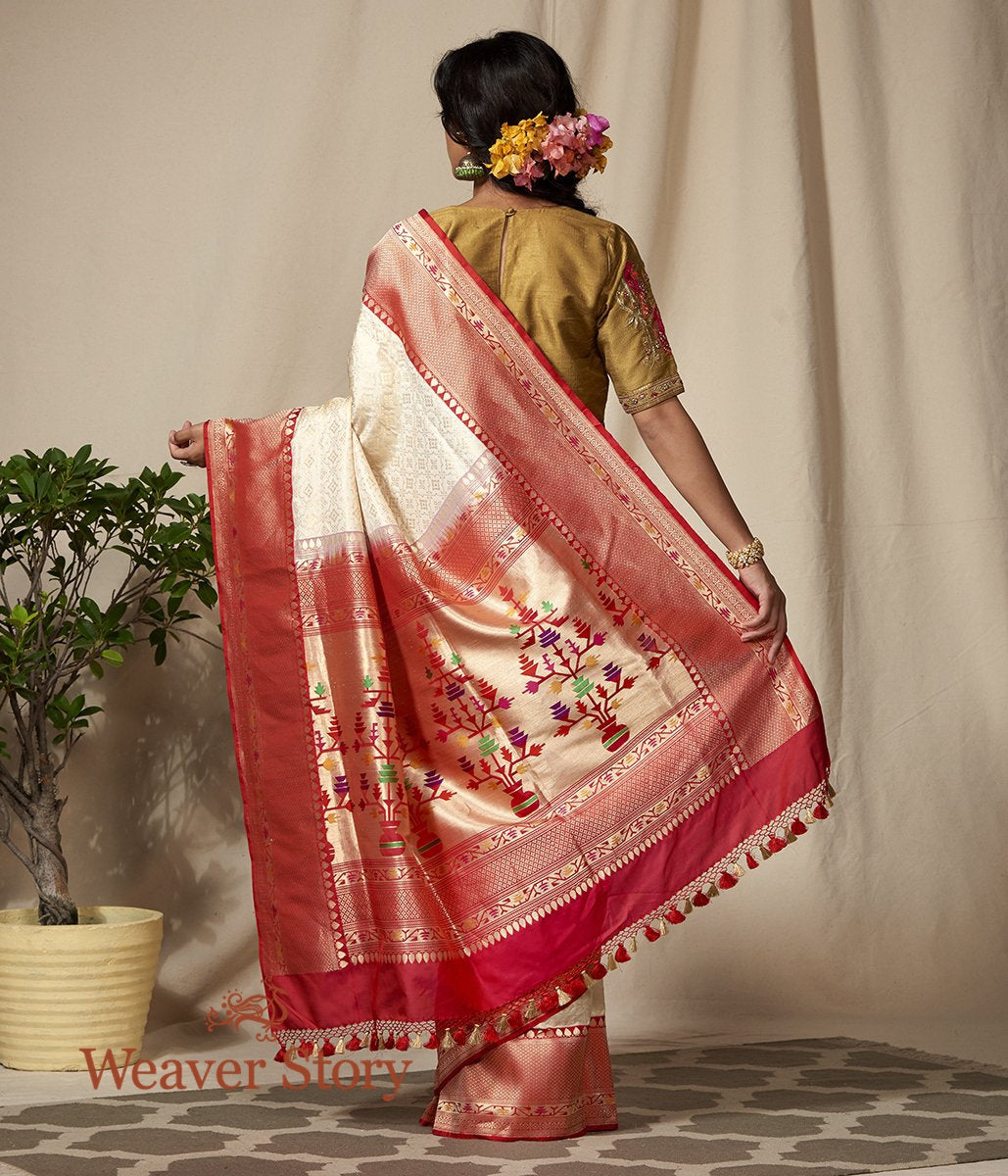 Handwoven Offwhite and Gold Kimkhab Saree with Red Border and Pallu
