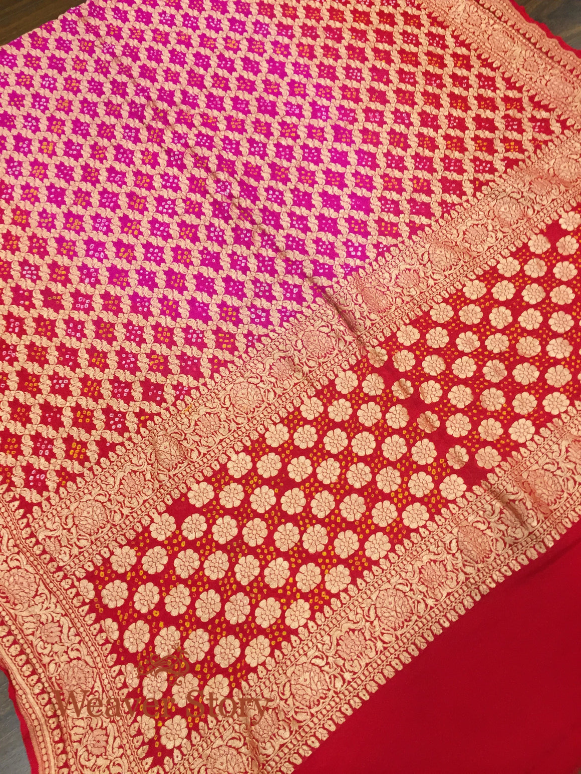 Handwoven Red and Pink Bandhej Dupatta