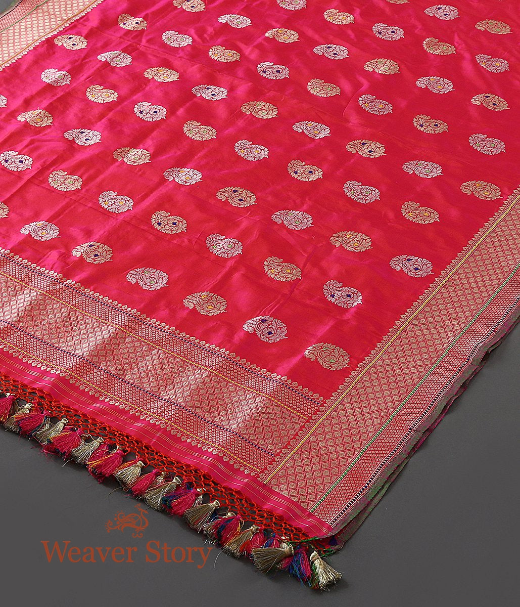 Handwoven Hot Pink Pure Katan Silk Dupatta with Sona Rupa Paisley Motifs with Meenakari