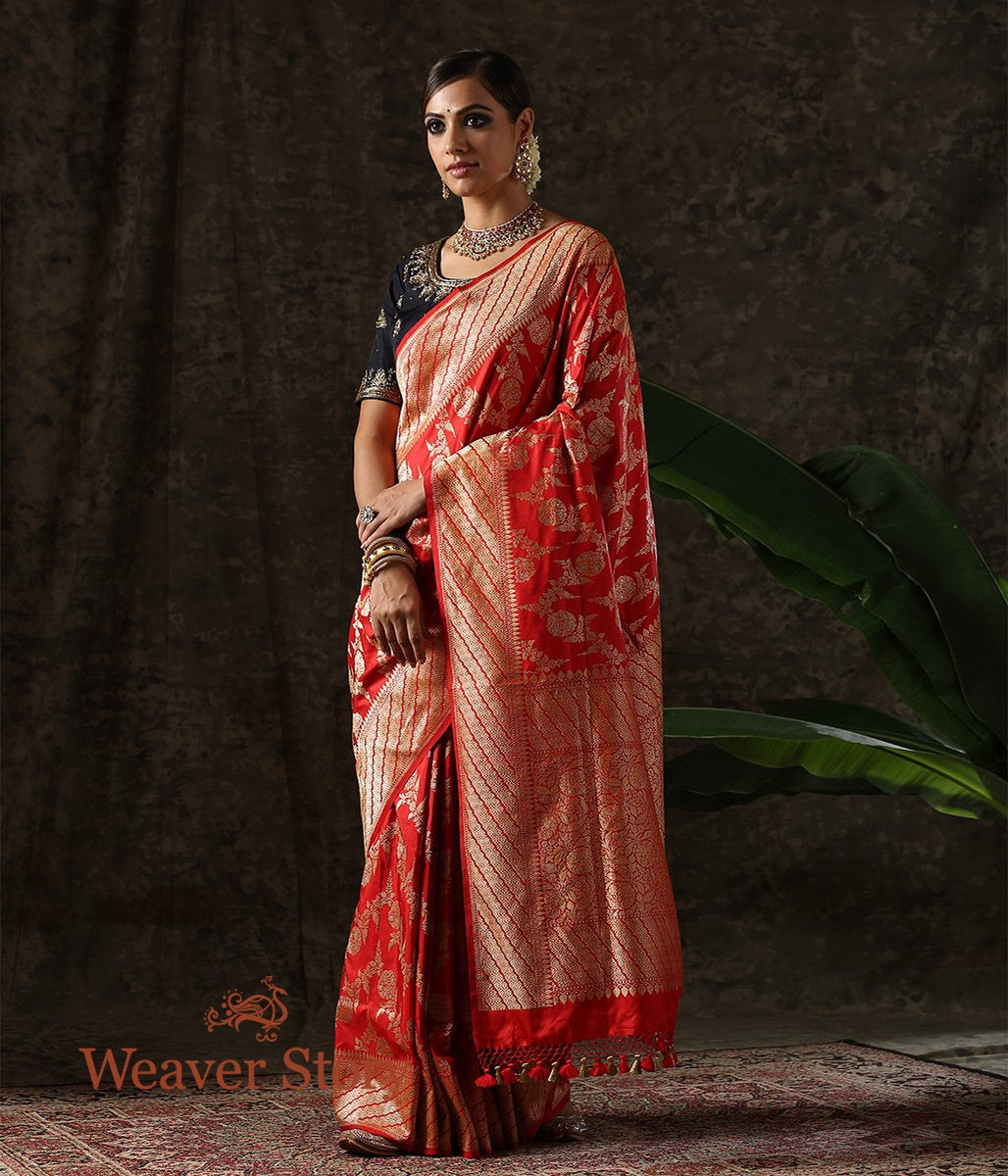 Handwoven Red Kadhwa Jangla Saree with a Diagonally woven Border
