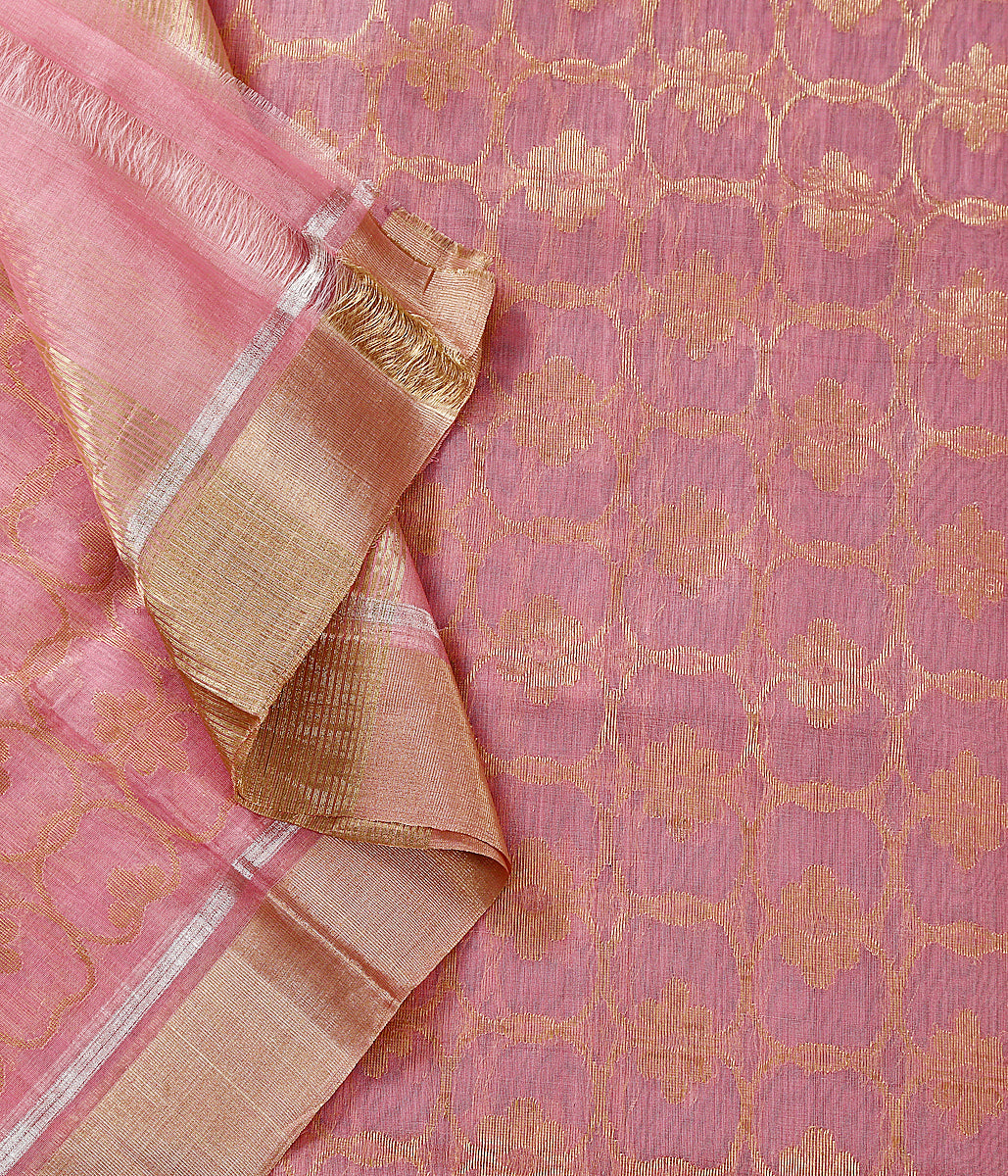 Handwoven Pink chanderi dupatta woven in cotton silk