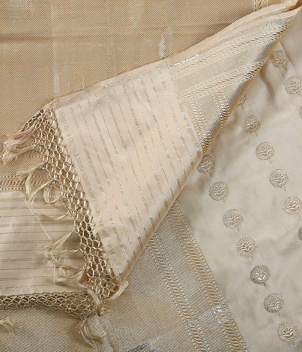 Offwhite and gold Kadhwa Booti Dupatta with real zari