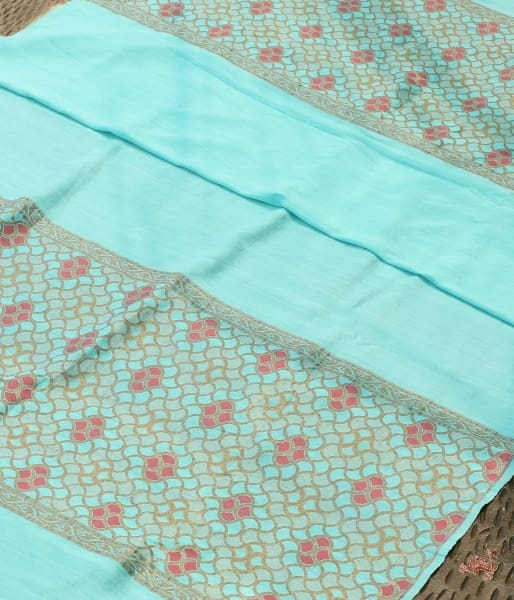 Handwoven Munga Silk Dupatta With Meenakari Border Dupatta