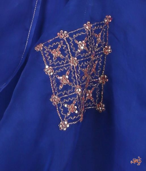 Hand Embroidered Pure Silk Ensemble In Royal Blue Ready To Wear Silk Ensembles