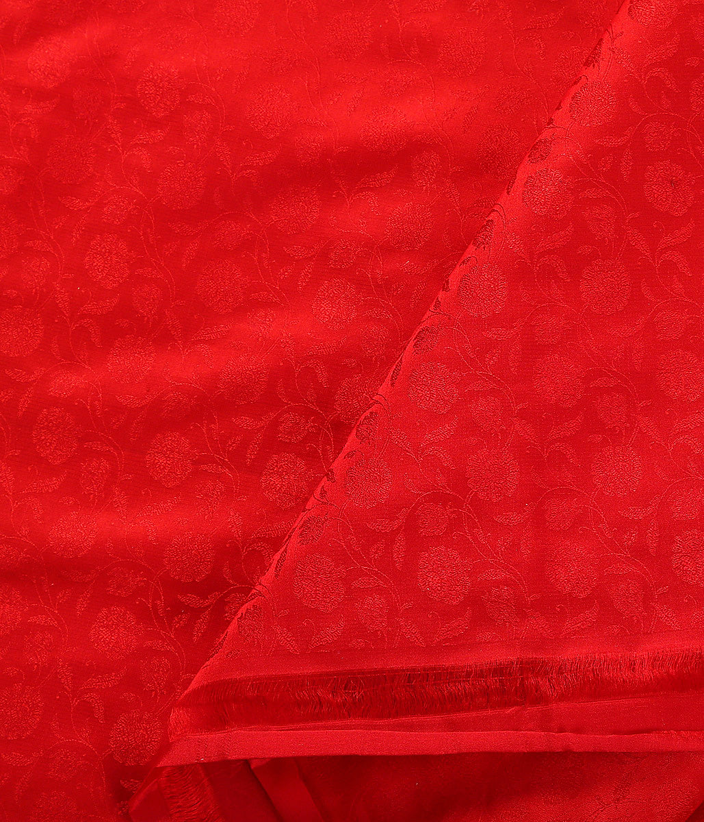 Handwoven Red Self Weave Floral Tanchoi Fabric