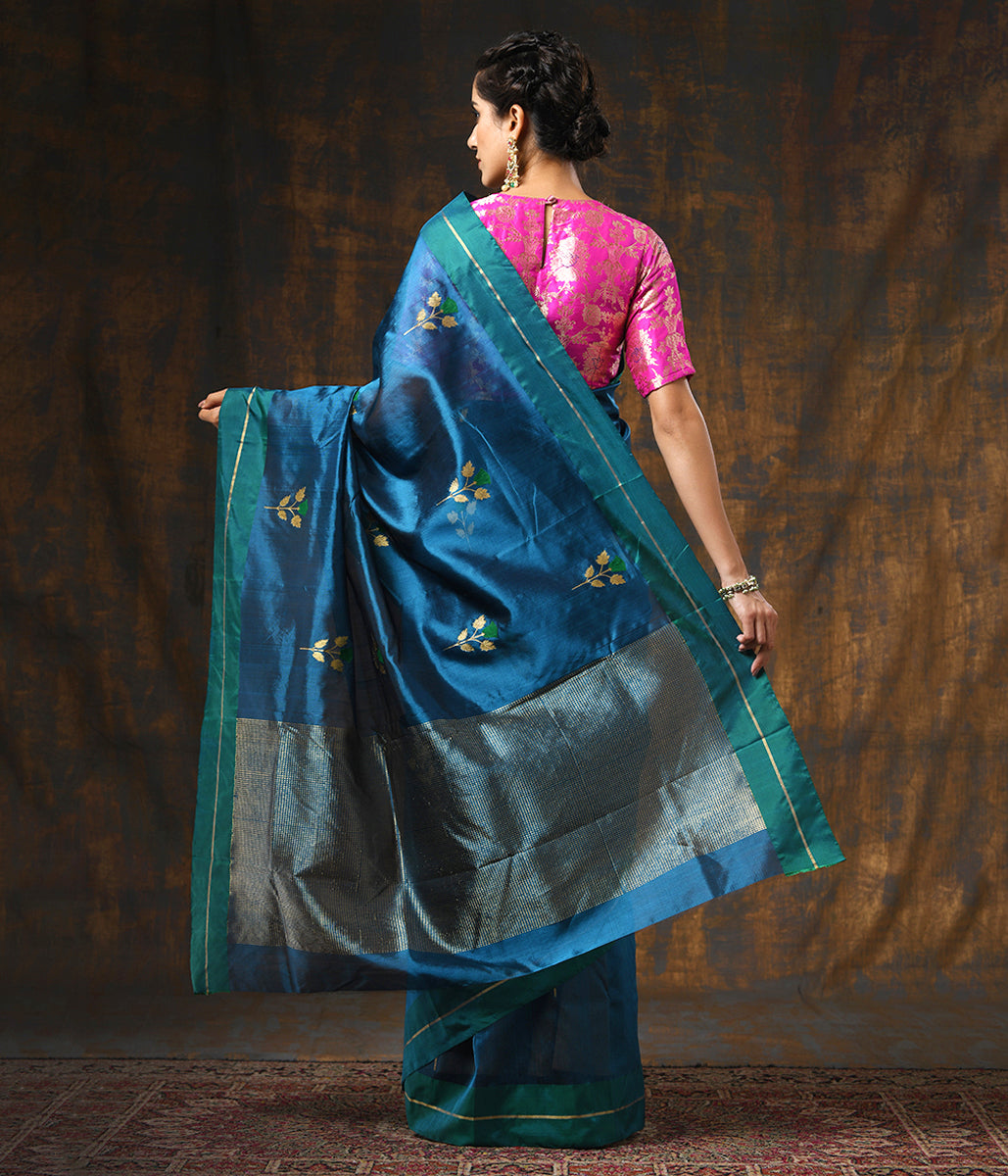 Handwoven Turquoise Chanderi Silk Saree with Rose Flower Motifs and Green Border