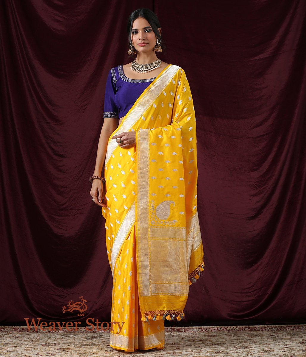 Handwoven Yellow Kadhwa Paisley Booti Saree with Konia