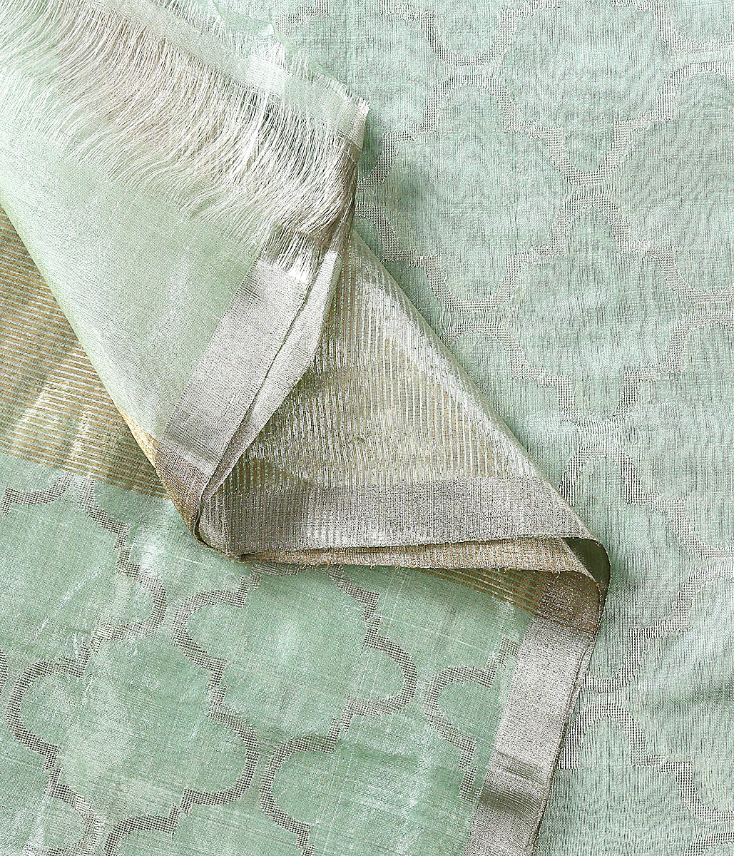 Handwoven Chanderi silk dupatta in sea green woven with rich silver zari