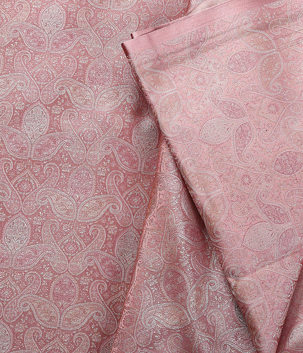 Handwoven Onion Pink Self Weave Jamawar Paisley Fabric