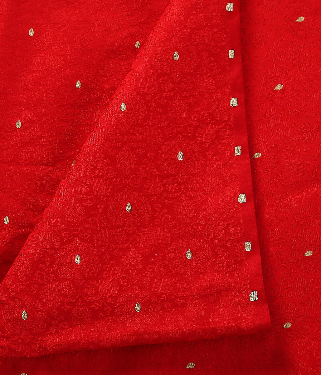 Handwoven red tanchoi fabric with zari booti
