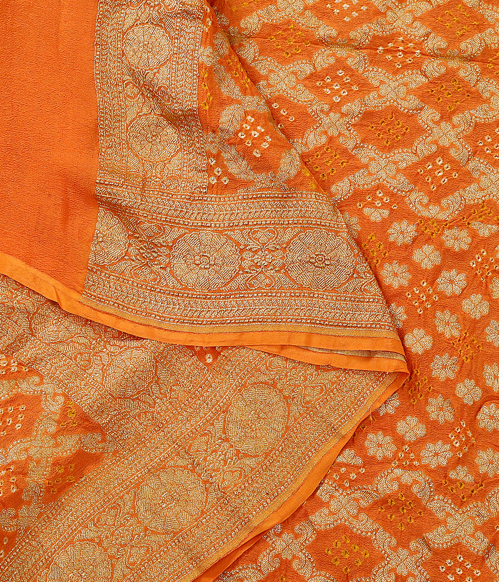 Handloom Banarasi Bandhej Dupatta in bright orange