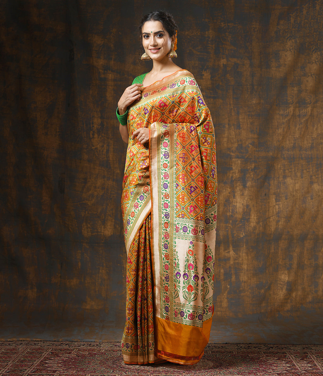 Handwoven Yellow and Red Dual Tone Meenakari Banarasi Patola
