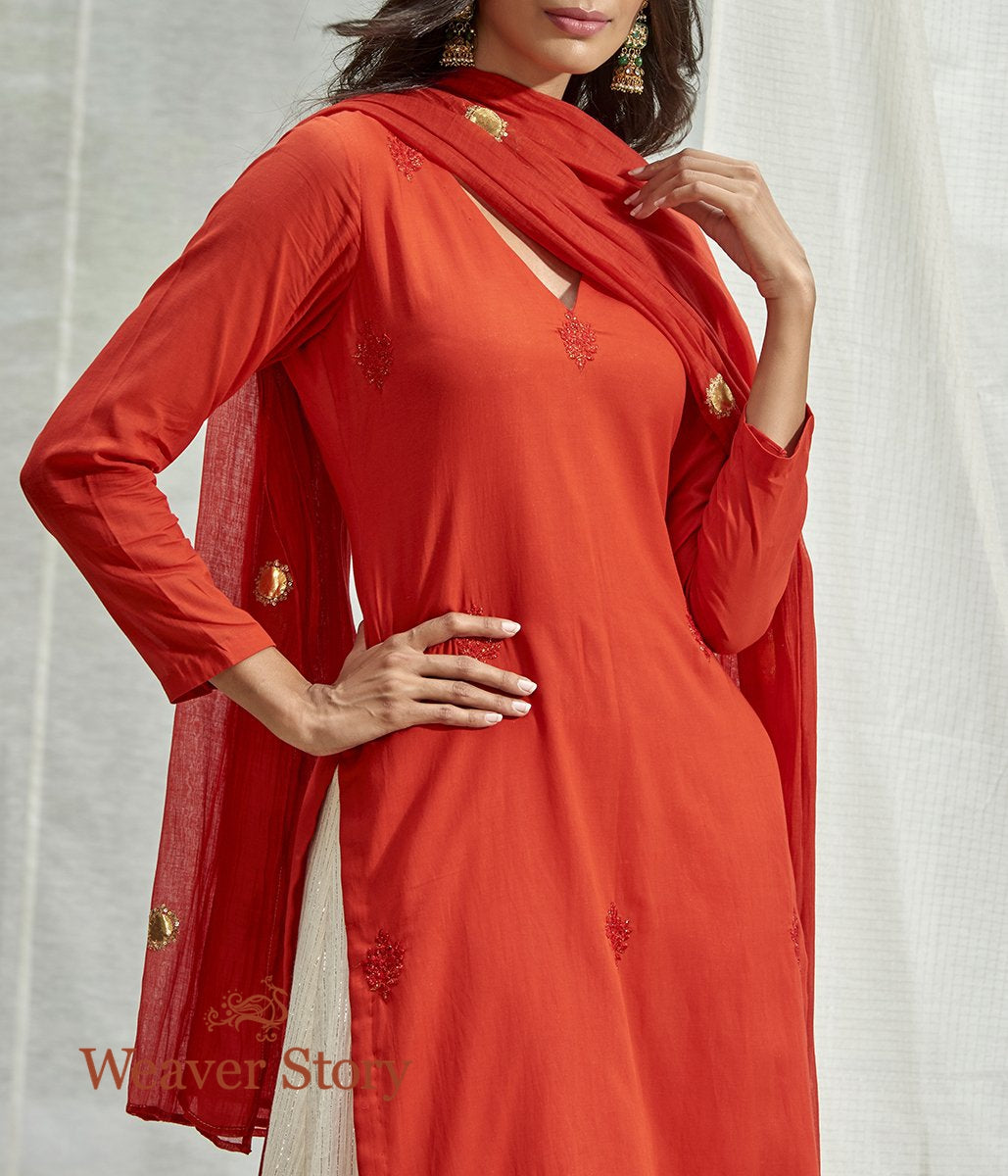 Handwoven Red Chanderi Kurta and Skirt with Mirror Work Dupatta