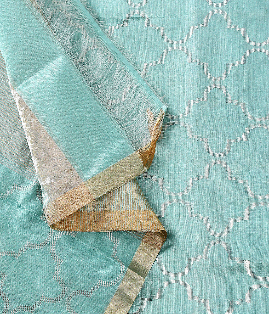 Handwoven Chanderi silk dupatta in sky blue wovne with rich silver zari