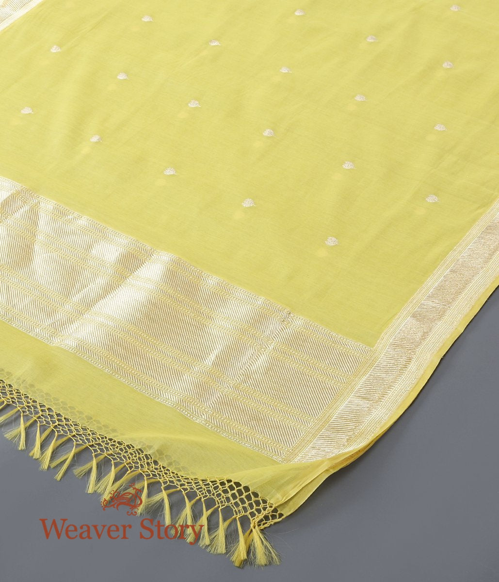 Handwoven Yellow Cotton Silk Kadhwa Booti Dupatta