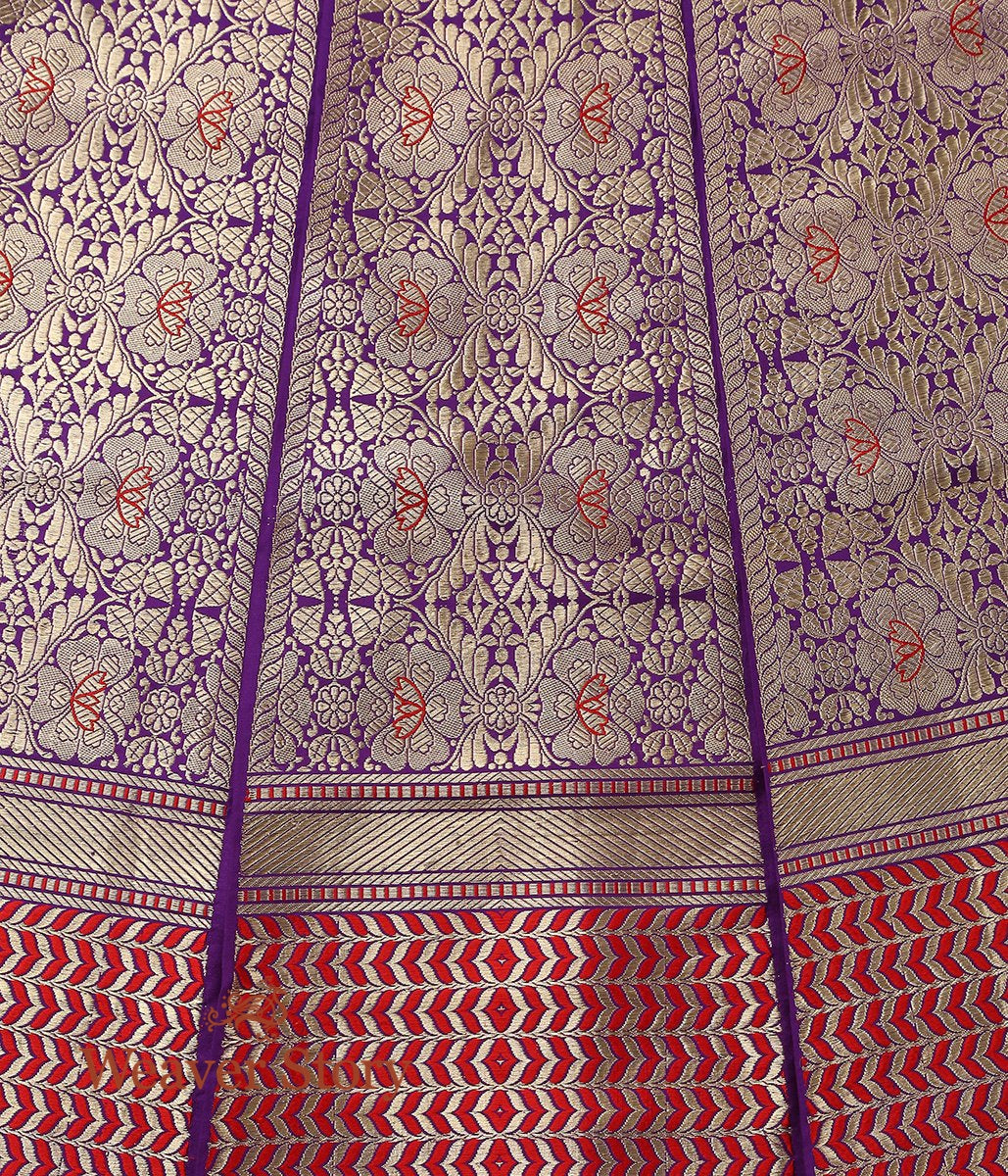 Handwoven Purple Banarasi Lehenga with Meenakari