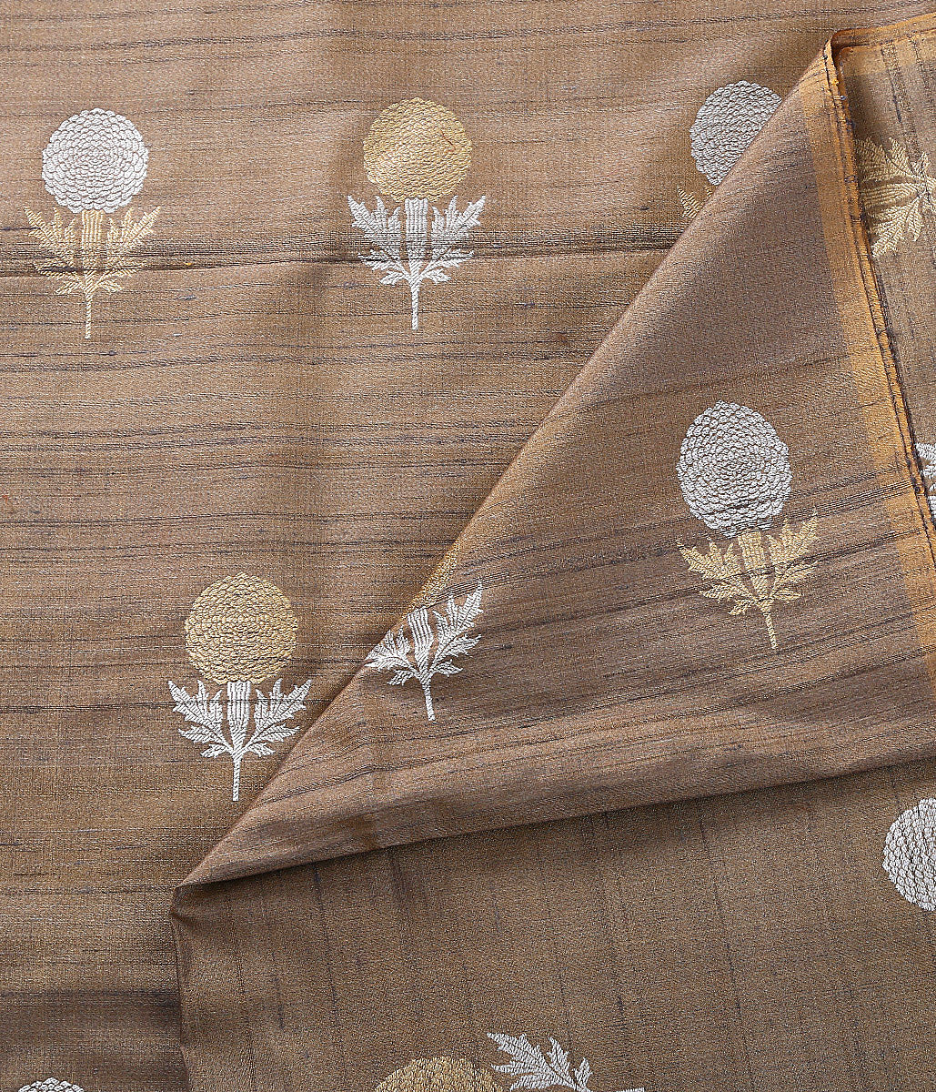 Handwoven Beige Tusser silk fabric with Kadhwa Booti in gold and silver zari