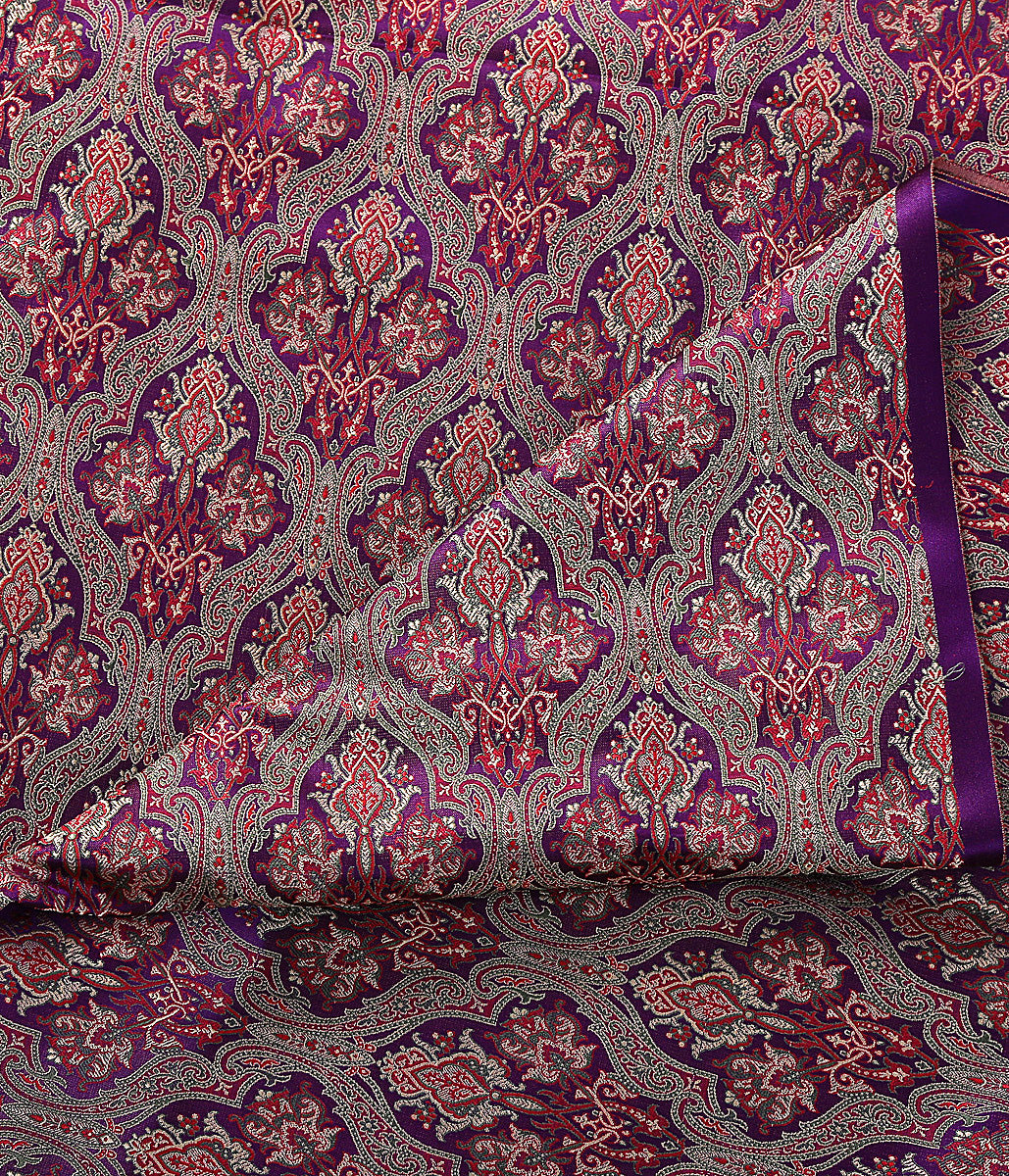 Handwoven banarasi jamawar fabric woven in pure silk