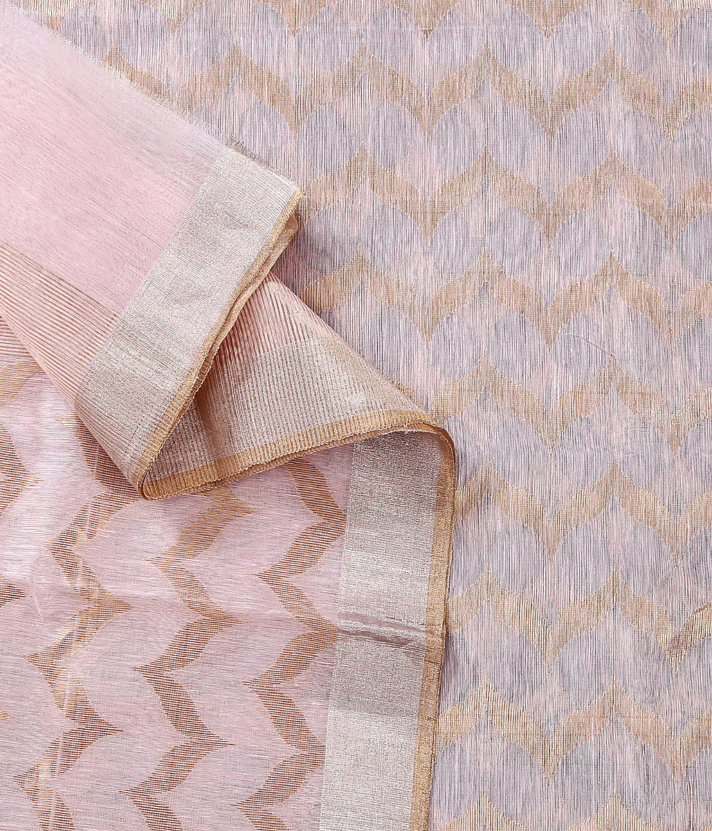 Handwoven Pink chanderi silk dupatta woven with rich gold zari