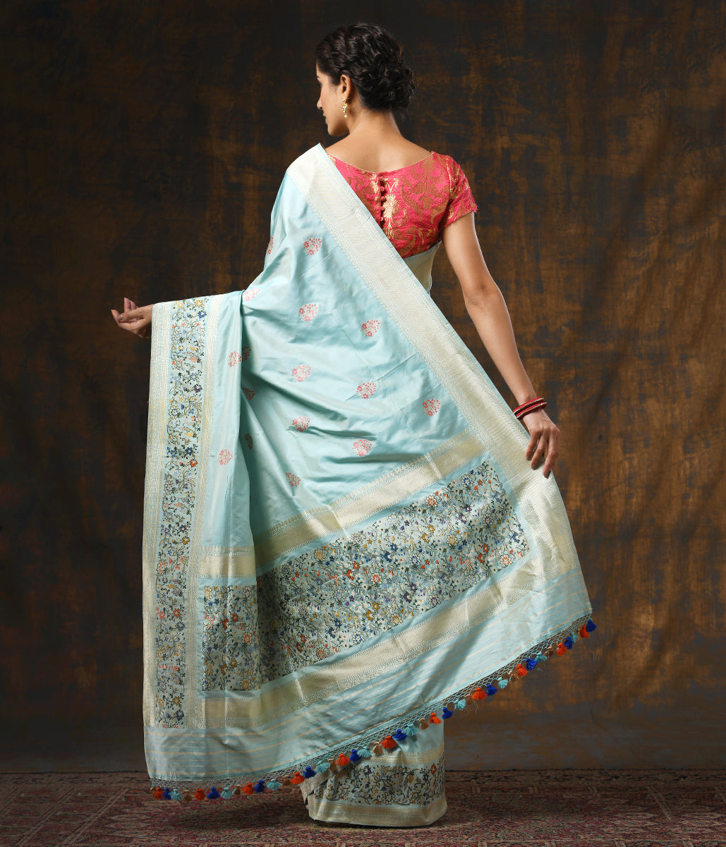 Handwoven Light Blue Kadhwa Booti Saree with Meenakari Border